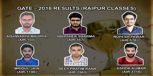GATE – 2018 Results (Raipur Classes)