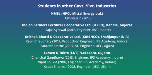 Students in other Govt. /Pvt. Industries